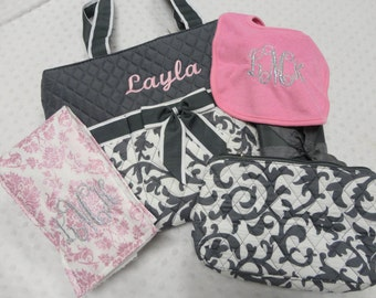 PERSONALIZED 5 Piece Damask Diaper Bag Set with Name Baby Girl Pink & Gray Damask Personalized Diaper Bag Pouch Burp Cloth Bib Changing Pad