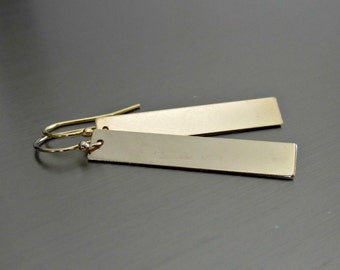 Elegant Gold Bar Earrings - Simple - Contemporary - Minimalist