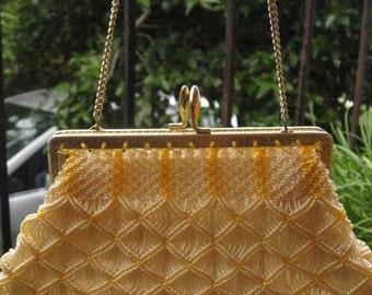 Yellow and cream crocheted 1960s bag