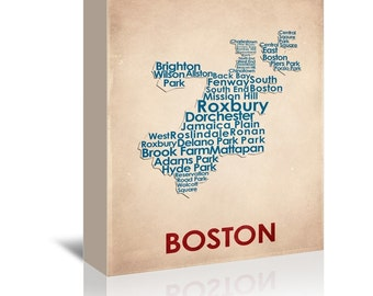 Boston Contemporary Typography Word Map Ready-to-Hang Premium Gallery Wrap Canvas
