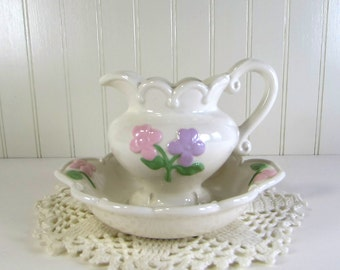Vintage Small Pitcher and Basin - Hand Painted