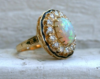 RESERVED - Antique Opal, Enamel and Diamond 18K Yellow Gold Ring.