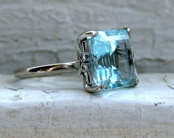 RESERVED - Vintage Aquamarine and Diamond Ring in 18K White Gold - 6.12ct.