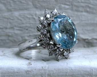 Vintage 14K White Gold Diamond and Aquamarine Halo Ring - 6.84ct.