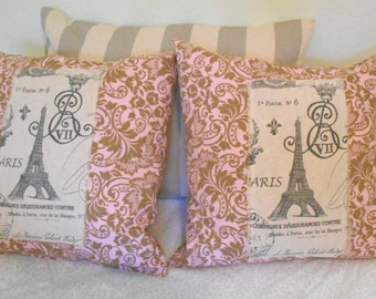 "On Sale! Decorative Throw Pillow with Paris France Eiffel Tower Theme 16"" by 16"" Down Feather Accent Pillow,  2 Pillows available"