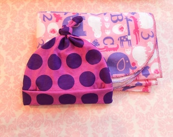 Purple polka dot top knot hat/ baby hat/ baby hat and blanket set