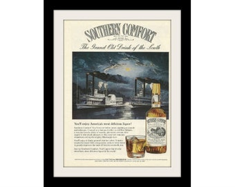 "1980 Southern Comfort Liquor Ad ""Nachez Steamboat"" Vintage Advertising Print"