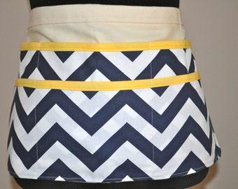 Chevron utility Apron, Women's Vendor Apron, Navy Chevron Apron, Teacher apron, carpenter apron, Navy and yellow chevron apron