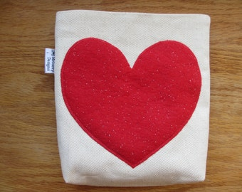 Reusable Snack Bag with Velcro Closure: Sparkle Heart