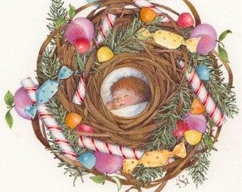 sugar plum sleeping child nest painting nutcracker christmas candy