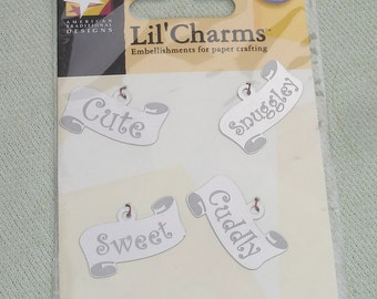 Baby Themed Scroll Charm Embellishments