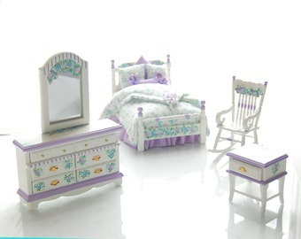 LAVENDER BLUE Pastel TWIN Bed Dollhouse Miniature Custom Dressed Hand Painted BedroomSet