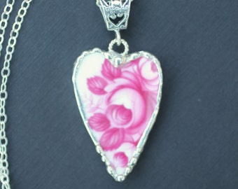 Necklace, Broken China Jewelry, Broken China Necklace, Heart Pendant, Fuchsia Pink Rose China, Sterling Silver, Soldered Jewelry