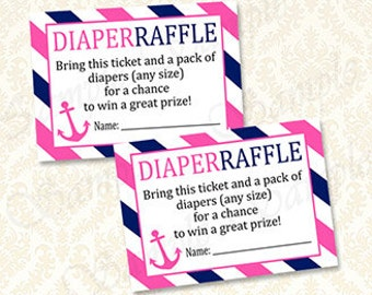 Nautical Girls Baby Shower Diaper Raffle Cards, Printable Pink And Navy  Ahoy Diaper Raffle Tickets