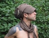 Dry Earth Linen Wrap Cap Dreadlock Hat Visor in Brown
