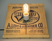 Upcycled Lamp Edison Bulb / Rustic Wood Box Vintage Graphics / Asparagus Vegetable Box / Americana / MCM Mid Century / Recycled Repurposed