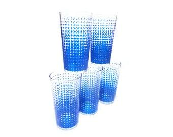 CLEARANCE Vintage Polka Dot Glasses - Vintage Drinking Glasses, Mid Century Modern Barware, Blue Dots Juice Glasses, Atomic Cocktail Glasses