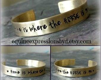 Handstamped Horse Quote Cuff Bracelet - Nugold cuff- Equestrian  bracelet -Horse Lover Jewelry-Cowgirl Jewelry