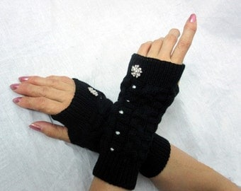 Knitted armwarmer - Short  Arm Warmers - - knit gloves with bling rhinestone  buttons - womens Fingerless Gloves - Black - white