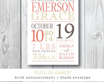 Full of Grace Suite | Birth Announcement with optional photo on back | Printed or Printable by Darby Cards