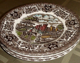 Olde Country Castles British Anchor Bread & Butter Plates - Set of 4 - England