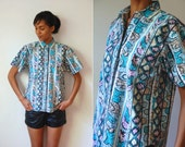 Vtg Bold Pastel Abstract Print SS Button Down Cotton Shirt