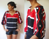 Vtg Dots and Stripes Red Black & White V Neck Retro Knit Sweater