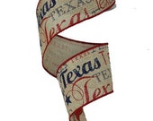 Faux Burlap Texas Ribbon - 2.5 Inches x 10YD : RG1340