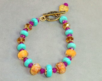 Gold and Turquoise, yellow, and fuchsia boho lampwork bracelet, Mexicali bracelet in howlite and gemstone quartz in hot pink, aqua blue gold