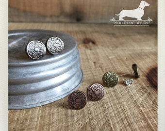 Rustic Trio. Post Earring Set -- (Brass, Copper, Antiqued Silver, Simple, Classic, Autumn, Round, Small, Circle Studs, Unisex, Set of 3)