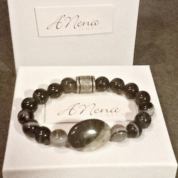 """Bracelet  For Men: Onyx, & Silver-Plated Copper bead By ANena Jewelry   """"I Am Able"""" Ideal gift for him"""