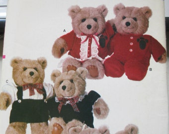 Vintage Sewing teddy bear clothes Uncut paper pattern by Vogue 9572