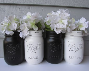 Painted and Distressed Ball Mason Jars- Black and White-Set of 4-Flower Vases, Rustic Wedding, Centerpieces