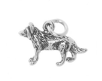 Sterling Silver American Wolf Charm (3d Charm)