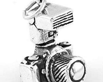 Sterling Silver SLR Photographer's Camera Charm Pendant (3D Charm)