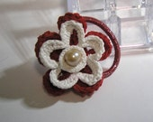 crochet red and white HANDMADE PONYTAIL HOLDER