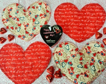 QUILTED HEART shaped Mug Rugs, Snack mats, Coffee mugs, etc., for Valentine's Day, Sweetest Day, Weddings, Anniversaries, etc.