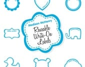 Write-On Fun Shapes Labels - Pick a Shape and 1 to 3 Colors