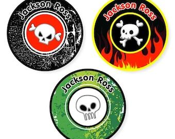 Iron On Labels (2 Sizes), Skulls Boy