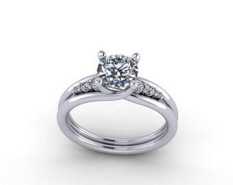 diamonds and  round moissanite  engagement ring anniversary ring, style 88WDM