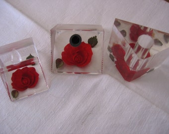 Bircraft Lucite Roses Set Three Piece Desk or Vanity Table Accessories Pen and Pencil Holder Matching Vase or Lipstick Holder with Red Roses
