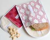 Red Cotton Lunchbag, Organic Sandwich Bag Set, Reusable Snack Bags, Toddler Snack Pouch