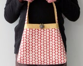 Young Girl's Purse, Child's Bag, Toddler Tote, Handprinted Cherry Red and Yellow Cotton