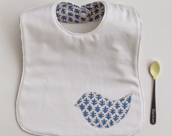 Toddler Bib, Reversible Feeding Bib, Blue Sister Parish Burmese Fabric, Bird Applique