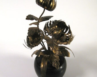 Vintage Japanese Brass Chrysanthemums