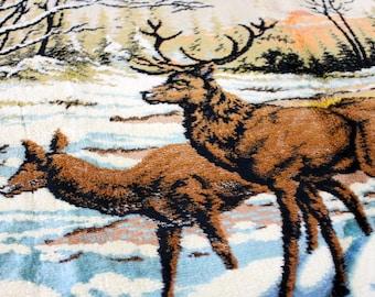 Vintage Deer Tapestry Wall Hanging Table Runner Cabin Decor Up North Velour Winter scene Deer in Woods