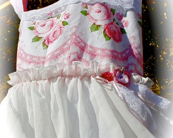 Pink White Sweetheart Pinafore  Dress Romantic  Wonderland Shabby Chic Vintage Style