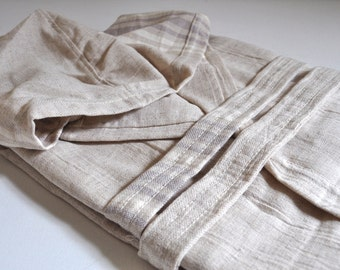 Peshtemal Robe Linen Cotton mixed Natural Linen Ivory striped without fringe
