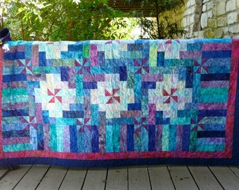 75 Inch Square Handmade Blue, Purple, and Turquoise Batik Quilt