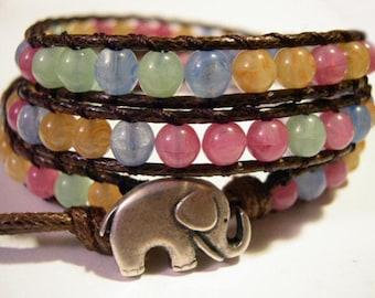 Wrap Bracelet, Beaded Triple Wrap Bracelet, Boho Bracelet, Czech Jablonex beads - 613